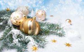 Картинка Снег, Шарики, Новый год, Праздник, Золотой