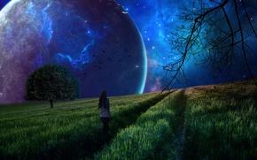 Картинка девушка, космос, пейзаж, фон, планета, сон, Природа, галактика