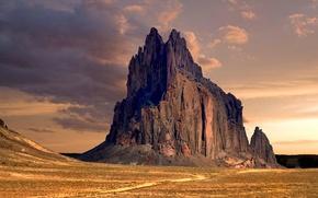 Картинка пустыня, Нью-Мексико, desert, New Mexico, горная порода, rock formation, Shiprock Peak