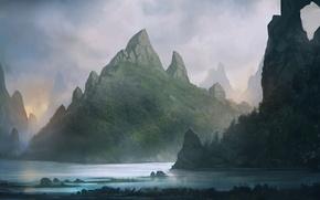 Обои вода, пейзаж, горы, озеро, река, скалы, арт, blinck