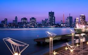 Обои небо, ночь, огни, здания, башня, дома, небоскребы, выдержка, Япония, освещение, Токио, залив, Tokyo, Japan, синее, ...