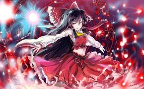Картинка взгляд, девушка, улыбка, магия, пентаграмма, touhou, art, hakurei reimu, sinzan