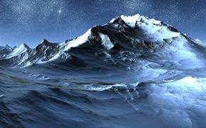 Картинка звезды, снег, пейзаж, горы, скалы, 3200х1200