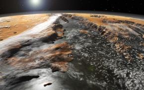 Картинка космос, поверхность, Марс, система каньонов, Долины Маринер