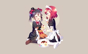 Картинка радость, девушки, минимализм, аниме, торт, шляпка, униформа, сладкое, служанка, кормит