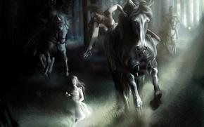 Обои девочка, рисунок, лошадь, погоня
