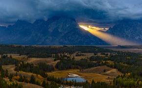 Картинка осень, лес, небо, облака, свет, горы, тучи