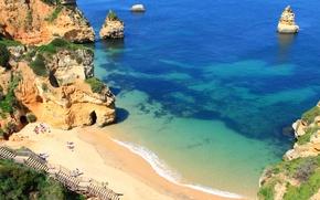 Картинка море, пляж, деревья, скалы, берег, высота