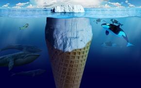 Картинка Океан, Айсберг, Креатив, киты, касатки, Мороженое, дайвер