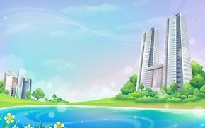 Обои здания, Вектор, деревья