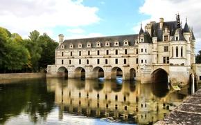 Картинка деревья, природа, река, Франция, Париж, Paris, France, Cher, Château de Chenonceau, Замок Шенонсо, Шер