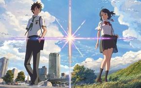 Картинка Anime, your name, Твое имя, Мицуха Миямидзу, Таки Татибана