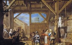 Картинка картина, жанровая, Валеро Ириарте, Посвящение Дон Кихота в Рыцари