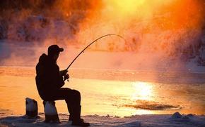 Картинка ice, winter, man, fun, Fishing, fishing equipment