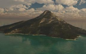 Картинка море, небо, пейзаж, пальмы, остров, гора
