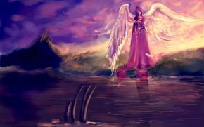 Картинка небо, взгляд, вода, лицо, отражение, фантастика, волосы, крылья, ангел, арт, красное платье