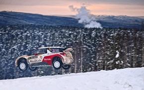 Картинка Зима, Авто, Снег, Лес, Спорт, Машина, Ситроен, Citroen, DS3, WRC, Rally, Ралли, Sebastien Loeb, В ...