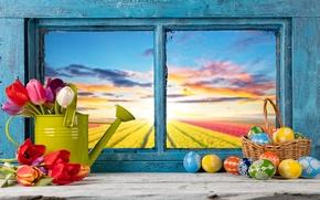 Картинка цветы, яйца, весна, окно, Пасха, тюльпаны, flowers, tulips, spring, Easter, eggs, decoration, Happy