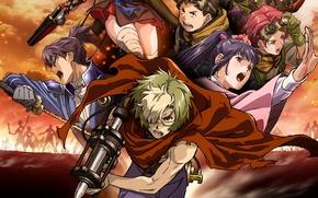 Картинка fire, battlefield, flame, zombie, gun, pistol, undead, megane, weapon, war, anime, katana, ken, hero, asian, …
