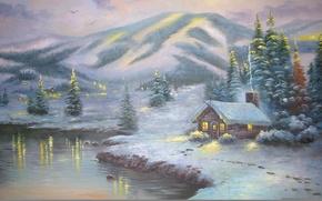 Обои зима, снег, пейзаж, огни, озеро, зимний, гора, ель, картина, вечер, домики, ёлка, живопись, Thomas Kinkade, ...