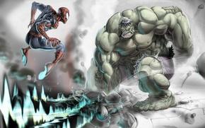 Картинка камни, прыжок, волна, Халк, Hulk, кулак, Spider-man, Человек-паук