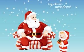 Обои снег, подарок, зима, детство, рождество, новый год, сказка, Санта Клаус