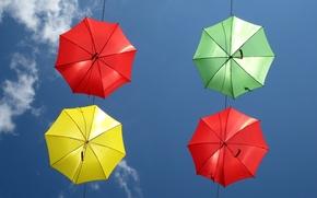 Картинка небо, облака, цвет, зонт