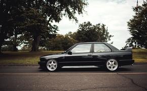 Картинка черный, тюнинг, бмв, BMW, профиль, black, tuning, E30