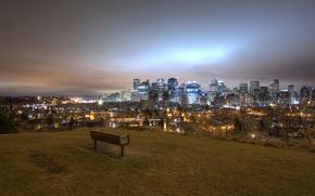 Обои огни, ночь, панорама, Калгари, скамья, Канада, пейзаж