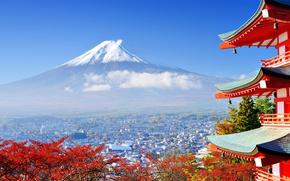 Картинка осень, город, гора, Япония, долина, Фудзияма