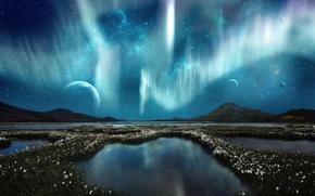 Картинка небо, облака, цветы, горы, ночь, озеро, отражение, сияние, река, Планета