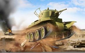 Картинка war, art, painting, tank, ww2, BT-7
