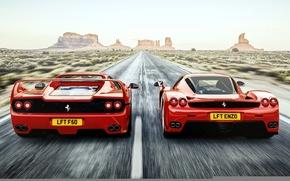 Обои ferrari, f50, enzo, феррари, вид сзади, дорога