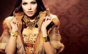 Картинка взгляд, девушка, украшения, макияж, Анна Субботина