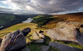 Картинка пейзаж, река, камни, гора