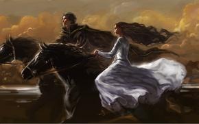 Картинка девушка, облака, лошади, арт, грива, парень, скачут