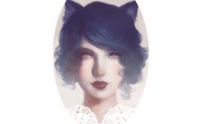 Картинка Девушка, воротник, белый фон, уши