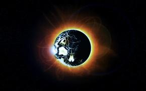 Картинка солнце, космос, звезды, череп, затмение