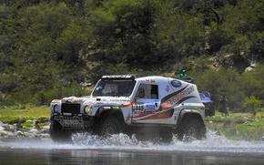 Обои land rover, defender, внедорожник, dakar, rally, вода