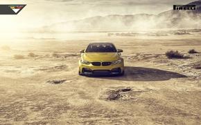 Картинка BMW, Car, Front, Vorsteiner, Yellow, Pirelli, Wheels, Desert, 2015, Skid, GTRS4