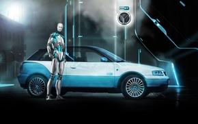 Картинка фон, Audi, тюнинг, робот, Ауди, эмблема, диски, вид сбоку, андроид, tuning, ESET, Vilner