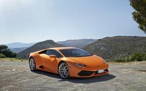 Обои Huracan, LP 610, Lamborghini, горы, оранжевый