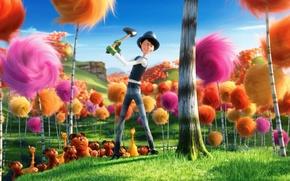 Картинка лес, мультфильм, топор, разноцветие, лоракс, дени де вито, the lorax