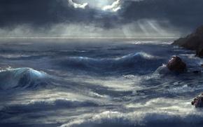 Картинка море, волны, лучи, камни, скалы, арт, непогода, нарисованный пейзаж