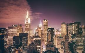 Картинка USA, United States, New York, Night, Manhattan, NYC, New York City, Skyline, skyscraper, Chrysler Building, …