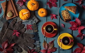 Картинка перчатки, осень, пирог, шарф, тыква, листья, кофе, блокнот, часы, ручка