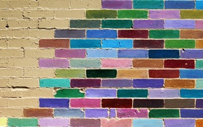 Обои стена, кирпичи, цвет