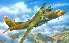 Картинка авиация, арт, самолёт, военно-транспортный, советский, Ан-26