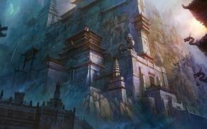 Картинка город, скалы, китай, арт, восток, скульптуры
