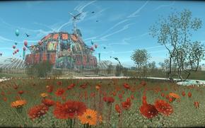 Картинка небо, цветы, game, герберы, купол, парк развлечений, монголия, indie, adventure, Cradle, Flying Cafe for Semianimals